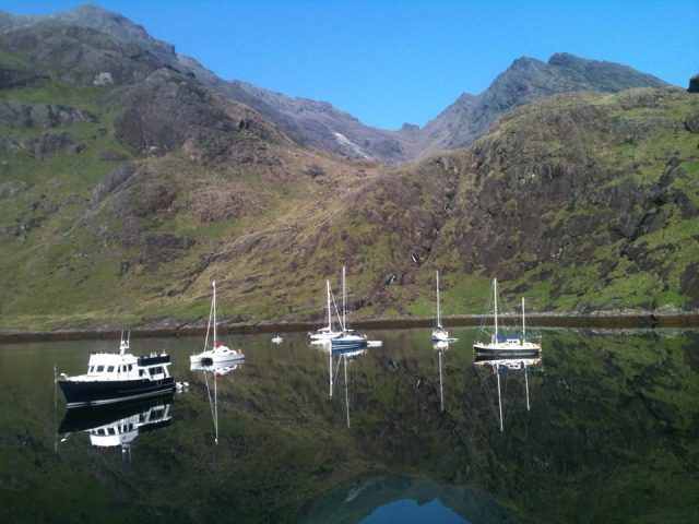 Boats in the bay at Coruisk