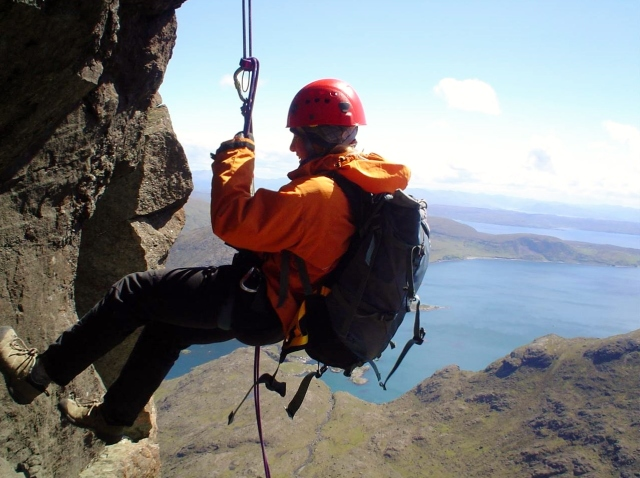 The interesting abseil on the Dubhs Ridge in Skye not the place to be in a thunderstorm.