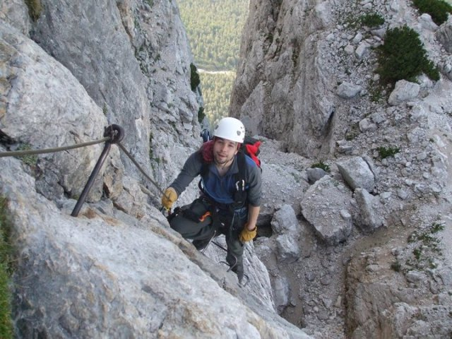 Stephen enjoying an easy Via Verata in Italy - great fun but must be done safely.