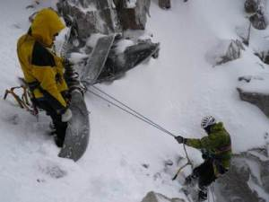 Andy Nisbet - On Beinn Eighe - abseiling from the propeller. Phot P McPherson