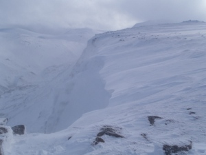 Cornice but small in comparison with the ones on Ben Nevis, Lochnagar and the big Cairngorm Cliffs.