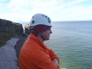 Pete relaxing after the hauling session with me.  Looking to the Moray Firth.
