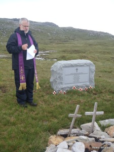 The dedication of the Memorail, the weather cleared and the Church of Assynt was in full view.
