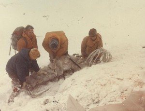 A sad job with one of  the casualties in the deep snow.
