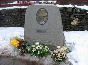 The memorial at Crainlarich in the Church yard to the Viscount crew.