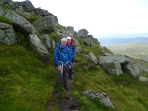 The rocky summit ridge of Bynock More before the mist came in!