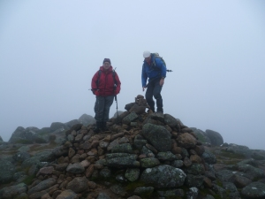 Misty summit of Bynock Mor - above the 2000 foot contour there are no earthly worries. Tom Weir