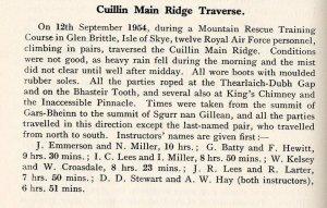 1954 Skye ridge times