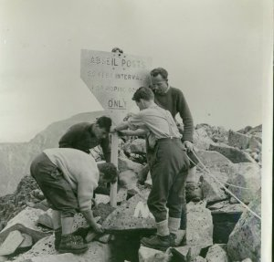 1962 - Abseil posts being completed now removed.On Carn Mor Dearg
