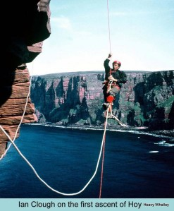Ian Clough on the Old Man Of Hoy photo Hamish McInnes.