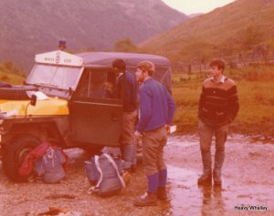John Cosgrove, Dave Wood and Paul Burns at the start of the big day we had to walk from Fort William, they met us at the start of the hill.