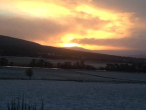 December daybreak over the Spey and Cromdales
