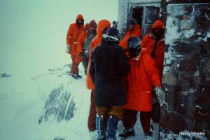 At the CIC Hut Ben Nevis - that is me in the balaclava with my mate who had spent a wild night on Observatory Ridge 1 Look at the gear.