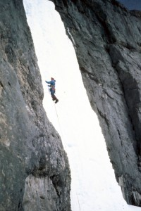 Mt Kidd Falls Canada - My mate Mark Cheeky Sinclair in action winter 1983.