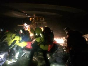 Cairngorm MRT in action with the Sea King great Team work in wild conditions.