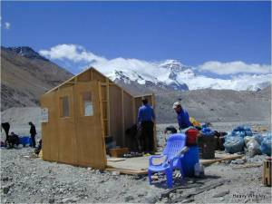 The Shed being put up lots of work to make it allowed by the Chinese Base Camp Manager .