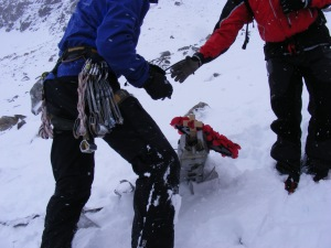 On the 60 th Anniversary of the Lancaster Crash in 1951 on Beinn Eighe Torridon and RAF Rescue laid a wreath in the snow the wreckage was buried, only a small piece showing.