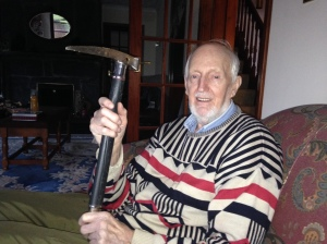 Hamish looking great with axe that is older than me! Still a trend setter in that jumper!