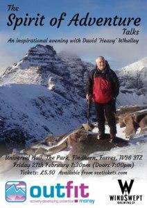 Spirit of Adventure Talks at Findhorn Friday 27 Feb at 1930 - doors open at 1900.