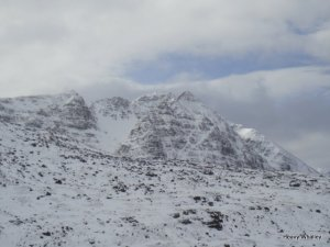 Liathach a wild place in winter - big walk in and big mountains.