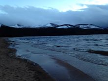 A gloomy Loch Morlich at dusk still a powerful place to be.