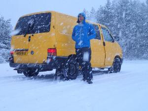 Pete and the Yellow van - not a day for climbing !