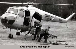 1956 Sycamore helicopter used to recover the crew of the Canberra that crashed on the hill.