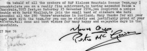 The Munro write up from Pete Mac Gowan RAF Kinloss Team Leader I finsished withTom MacDonald in 1976 !