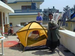 Repairing the tents in Kathmandu.