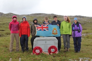 The new Memorial at Assynt with the local ATCadets who helped with the renovation.