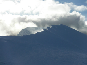 Sgurr Mor in winter - photo Pete Greening  - huge cornices await the unwary.