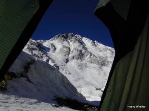 The view from my tent of the Northern pinnacles of Everest incredible