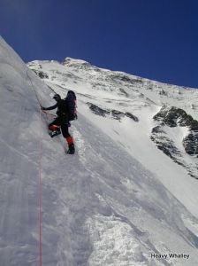 Below the North Col on the fixed ropes.