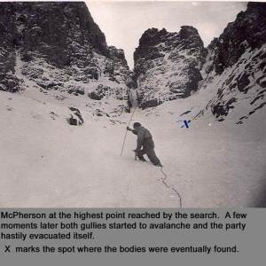 1959 Avalanche Ben Nevis Gas piping modified by RAF Searchers as probes..