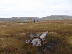 The Anson crash site a sombre place in a wild setting the engine and propeller a bit away from the main wreckage.