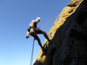 We abseiled down after each route it is a great cliff for teaching ad learning to climb.