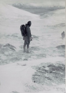 1977 Coming out of the storm before darkness on Lochnagar a wild day and short day light.