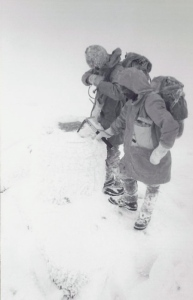 1977 wild weather on Lochnagar wrapped up for the bitter cold. See the ice axe can you name it? The jacket is a modified Henry Lyodd with map pocket