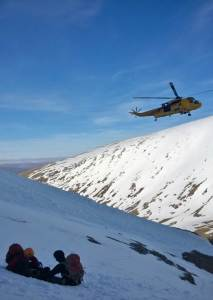 The great Sea King on Ben Nevis on a rescue safety on a few minutes away.