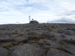 The Cairngorm weather station a bleak looking place on the summit.