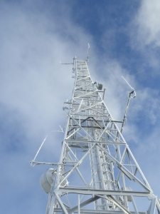 The mast at the top.