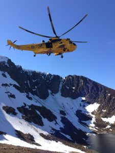 The Sea King helicopter in Lochnagar sadly no more. Photo Braemar MRT.