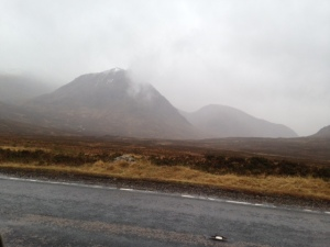 The wet and windswept hills on the way through Glencoe.