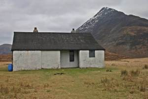 The bothy with the crash site behind benign in this picture but in winter and the dark>