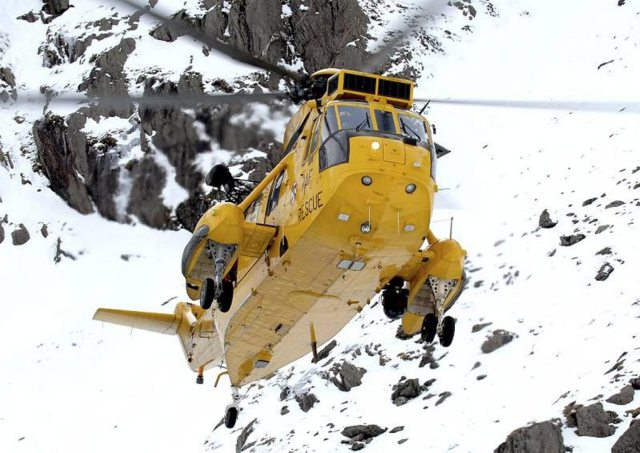 Sea King helicopter in action