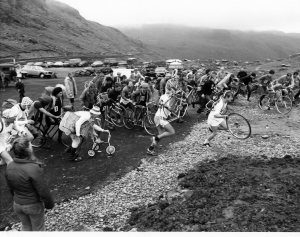 The mass start of the bike race