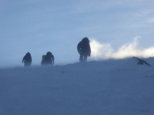 A bit windy and cols a typical winters day.