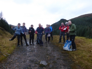 A big group to start with on the walk in up the Falls Of Glomach Path which follows the forestry road , warm work.