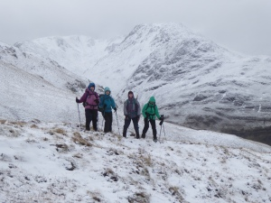 The girls enjoying the views with Beinn Fhada or Beinn Attow in the distance. For the winter climber there are some intersting winter climbs in these back Coriies?