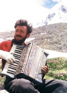 1956 the late Tom Patey with frostbitten hands and his famous accordion